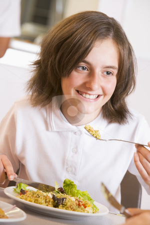 Schoolgirl enjoying her lunch in a school cafeteria stock photo,  by Monkey Business Images