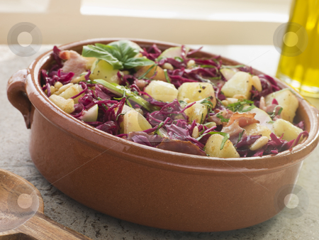 Potato Bacon and Pickled Red Cabbage Salad stock photo,  by Monkey Business Images