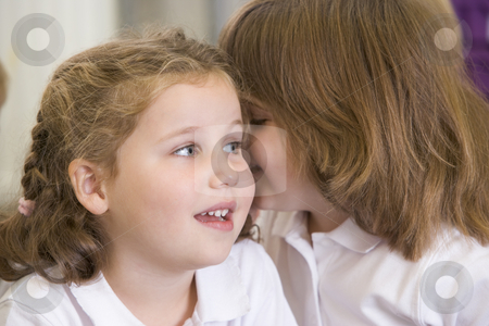 A schoolgirl whispers to her friend in a primary class stock photo,  by Monkey Business Images