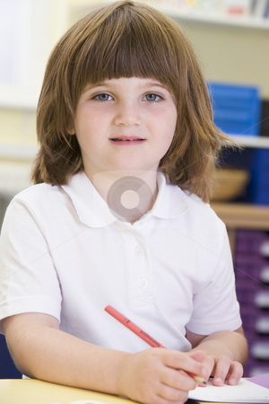 A schoolgirl sitting in a primary class stock photo,  by Monkey Business Images