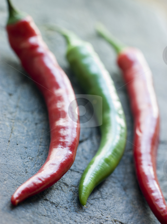 Red and Green Chillies stock photo, Close up of Red and Green Chillies by Monkey Business Images