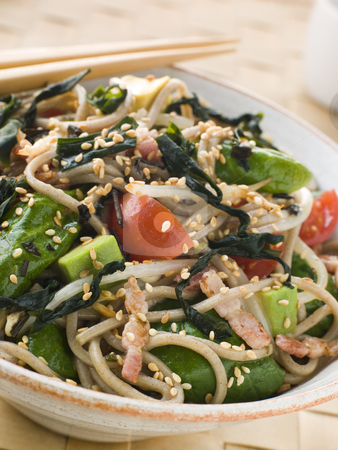 Green Tea and Soba Noodle Salad with Wakame Seaweed stock photo, Bowl of Green Tea and Soba Noodle Salad with Wakame Seaweed by Monkey Business Images