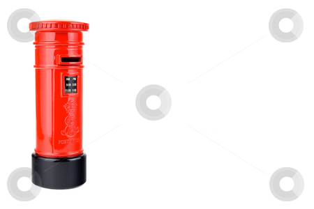 UK Post Box stock photo, Model of a UK Postbox isolated on the left-hand side of a white frame by Steve Smith