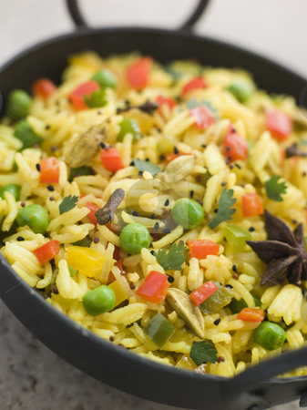 Vegetable Pilau Rice in a Balti Dish stock photo, Close up image of Vegetable Pilau Rice in a Balti Dish by Monkey Business Images