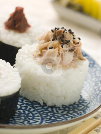 Sushi Rice Balls with Smoked Mackerel and Ameboshi Paste stock photo, Plate of Sushi Rice Balls with Smoked Mackerel and Ameboshi Paste by Monkey Business Images
