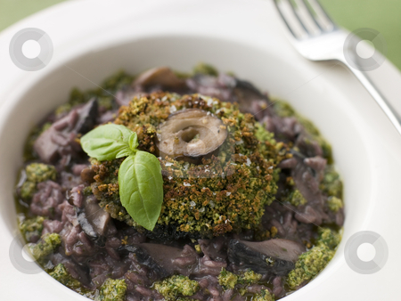 Herb Crusted Portabello Mushroom with Red Wine Risotto and Pesto stock photo,  by Monkey Business Images