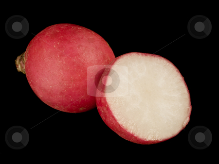 American Plenty, Still Life In Detail, Radishes stock photo, Sliced and whole radishes, photographed over a jet black background.  The eleventh image, and seventh constituent object image of the American Plenty, Still Life In Detail series of images by Gary W. Sherwin