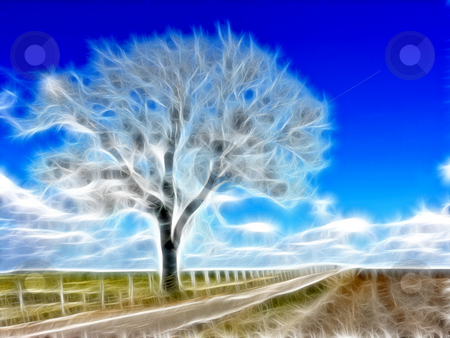 Abstract Winter Tree stock photo, Shot of a tree in winter with blue sky manipulated by Stephen Inglis