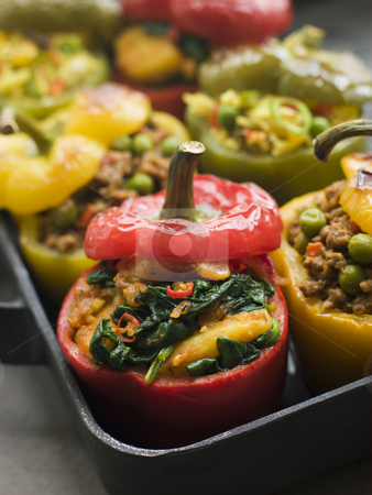 Bell Peppers stuffed with Keema Sag Aloo and Vegetable Pilau stock photo, Pan of Bell Peppers stuffed with Keema Sag Aloo and Vegetable Pilau by Monkey Business Images