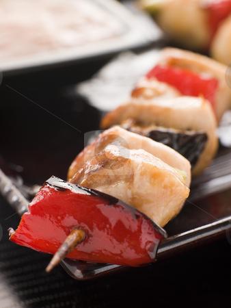 Yakitori Skewer with Sukiyaki Sauce stock photo, Plate of Yakitori Chicken Skewers with Sukiyaki Sauce by Monkey Business Images