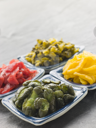Selection of Pickled Vegetables stock photo, Selection of Pickled Vegetables in dishes by Monkey Business Images
