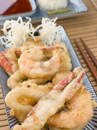 Tempura of Seafood with chili Sauce and Mouli stock photo, Plate of Tempura of Seafood with chili Sauce and Mouli by Monkey Business Images