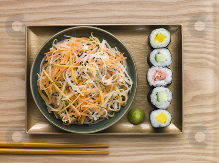 Daikon and Carrot Salad with Sesame Sushi and Wasabi  stock photo, Overhead shot of Daikon and Carrot Salad with Sesame Sushi and Wasabi by Monkey Business Images