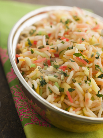 Three Coloured Basmati Pilau stock photo, Bowl of Three Coloured Basmati Pilau by Monkey Business Images
