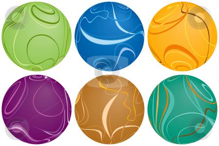 Six Swirly Balls stock vector clipart, Six Swirly Balls by Adrian Sawvel