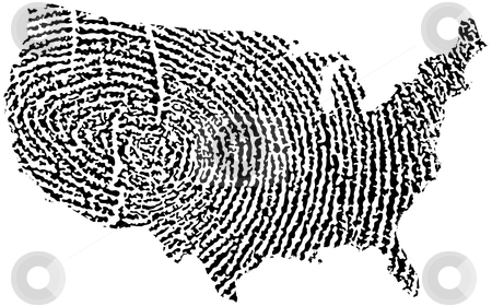 United States Map Fingerprint stock vector clipart, United States Map Fingerprint by Adrian Sawvel