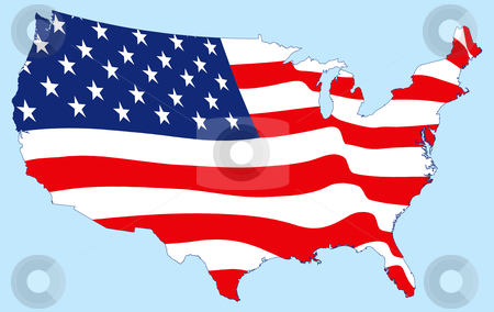 United States Map with Flag stock vector clipart, United States Map with Flag by Adrian Sawvel