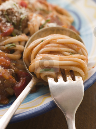 Spaghetti and Tomato Sauce twisted on a fork stock photo, Close up of Spaghetti and Tomato Sauce twisted on a fork by Monkey Business Images