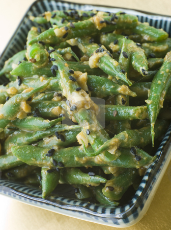 Miso Green Beans with Peanut Sauce stock photo, Bowl of Miso Green Beans with Peanut Sauce by Monkey Business Images