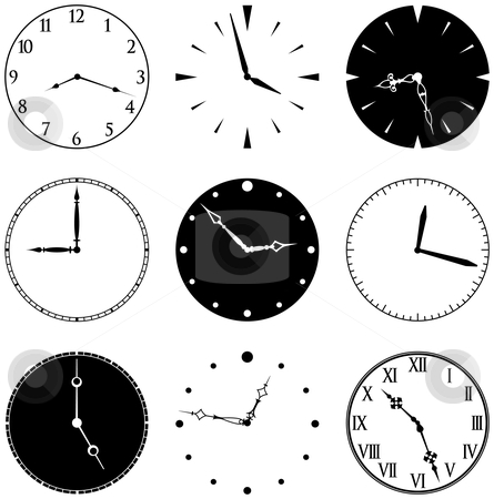 Nine Clock Faces and Hands stock vector clipart, Nine Clock Faces and Hands, faces and hands are separate elements, mix and match as you like by Adrian Sawvel