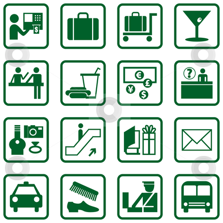 Airport / Travel Icons stock vector clipart, Airport and Travel Icons and Symbols by Adrian Sawvel