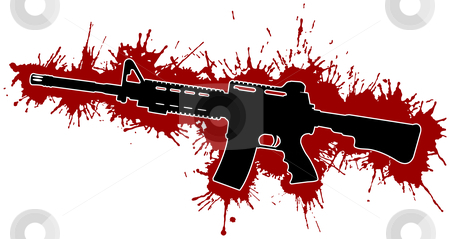 Assault Rifle with Blood Stains stock vector clipart, Assault Rifle with Blood Stains by Adrian Sawvel