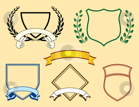 Banners and Logo Elements stock vector clipart, Banners and Logo Elements including shields, banners and laurels by Adrian Sawvel