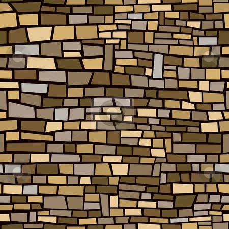 Brown Brick Background stock vector clipart, Seamless, repeating background of brown irregular bricks by Adrian Sawvel