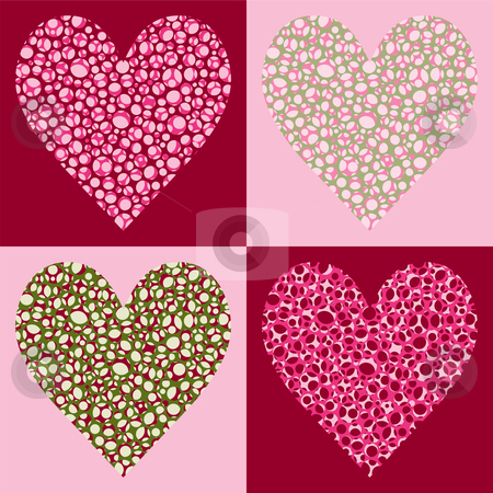 Four Bubble Filled Hearts stock vector clipart, Four Bubble Filled Hearts, Four Color Variations by Adrian Sawvel