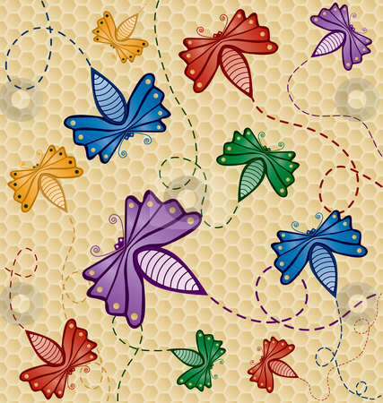 Colorful Flying Bugs stock vector clipart, Colorful Flying Bugs, bugs and background are on seperate layers for easy editing by Adrian Sawvel