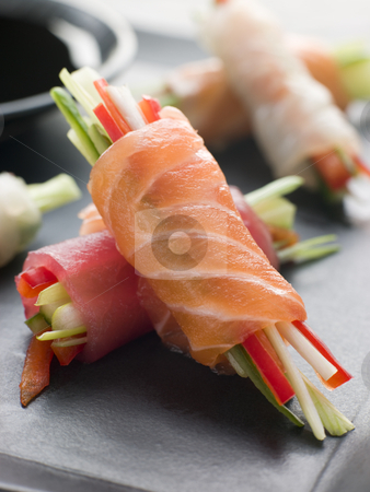 Sashimi and Vegetable Rolls with Soy Sauce stock photo, Plate of Sashimi and Vegetable Rolls with Soy Sauce dip by Monkey Business Images