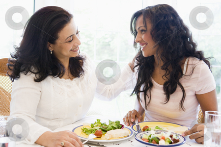 Two women enjoying a meal together stock photo,  by Monkey Business Images