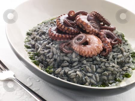 Risotto Nero with Fried Octopus and Pesto Dressing stock photo, Plate of Risotto Nero with Fried Octopus and Pesto Dressing by Monkey Business Images