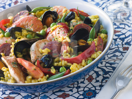 Bowl of Paella stock photo,  by Monkey Business Images