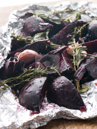 Roasted Beetroot with Herbs Garlic and Balsamic Vinegar stock photo, Roasted Beetroot with Herbs Garlic and Balsamic Vinegar in tin foil by Monkey Business Images