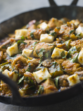 Chicken and Paneer Balti stock photo, Pan of Chicken and Paneer Balti by Monkey Business Images