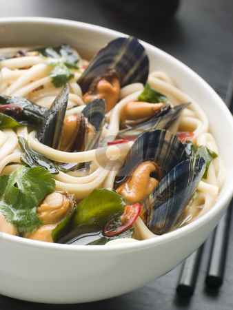 Mussels and Udon Noodles in Chili Soy Broth stock photo, Bowl of Mussels and Udon Noodles in Chili Soy Broth by Monkey Business Images