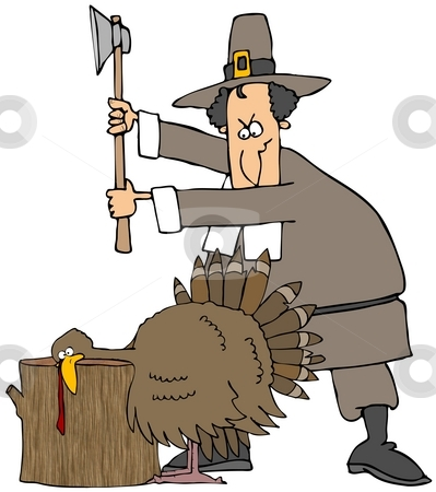 Thanksgiving Turkey stock photo, This illustration depicts a Pilgrim about to chop the head off of the Thanksgiving turkey. by Dennis Cox