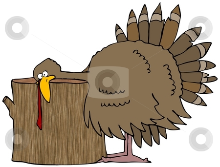Turkey Head Chop stock photo, This illustration depicts a Tom turkey with its head resting on a wooden stump. by Dennis Cox