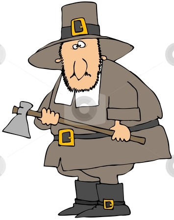 Pilgrim Holding An Axe stock photo, This illustration depicts a Pilgrim holding an axe. by Dennis Cox
