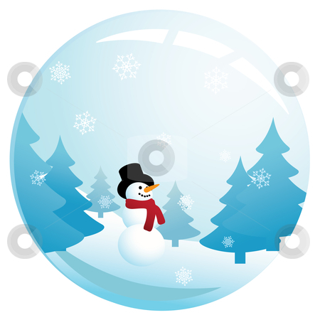 Snowman in Glass Sphere stock vector clipart, Vector illustration of a happy, smiling snowman in glass sphere with snow falling down. by Inge Schepers