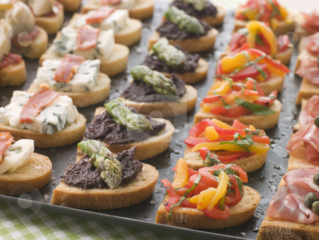 Selection of Crostini stock photo, Platter of Selection of Crostini by Monkey Business Images
