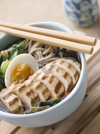 Chargrilled Chicken Soba Noodle and Miso Soup stock photo, Bowl of Chargrilled Chicken Soba Noodle and Miso Soup by Monkey Business Images