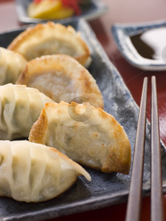 Fried Pork and Shrimp Dumplings with Soy Sauce stock photo, Fried Pork and Shrimp Dumplings on a dish with Soy Sauce and chopsticks by Monkey Business Images
