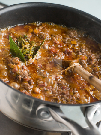 Ragu Sauce in a Saucepan stock photo, Saucepan of Ragu Sauce with beef by Monkey Business Images