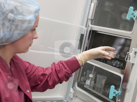 Embryologist putting sample into incubator stock photo, Embryologist putting sample into incubator in laboratory by Monkey Business Images