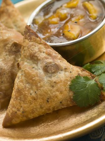 Vegetable Samosa with Mango Chutney stock photo, Plate of Vegetable Samosa with Mango Chutney by Monkey Business Images