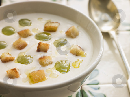 Ajo Blanco- White Garlic Soup stock photo,  by Monkey Business Images