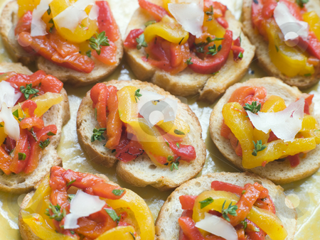 Open Tomato and Roasted Pepper Sandwich with Manchego Cheese stock photo,  by Monkey Business Images