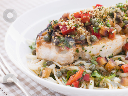 Baked Sicilian Swordfish with Linguine stock photo, Plate of Baked Sicilian Swordfish with Linguine by Monkey Business Images
